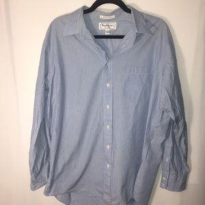 Burberry Blue Striped Dress Shirt Sz 17 Neck 35